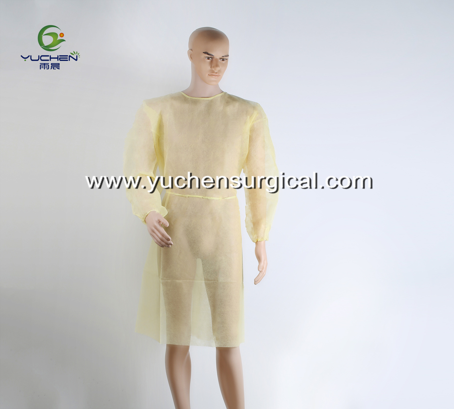 Medical disposable yellow isolation gown