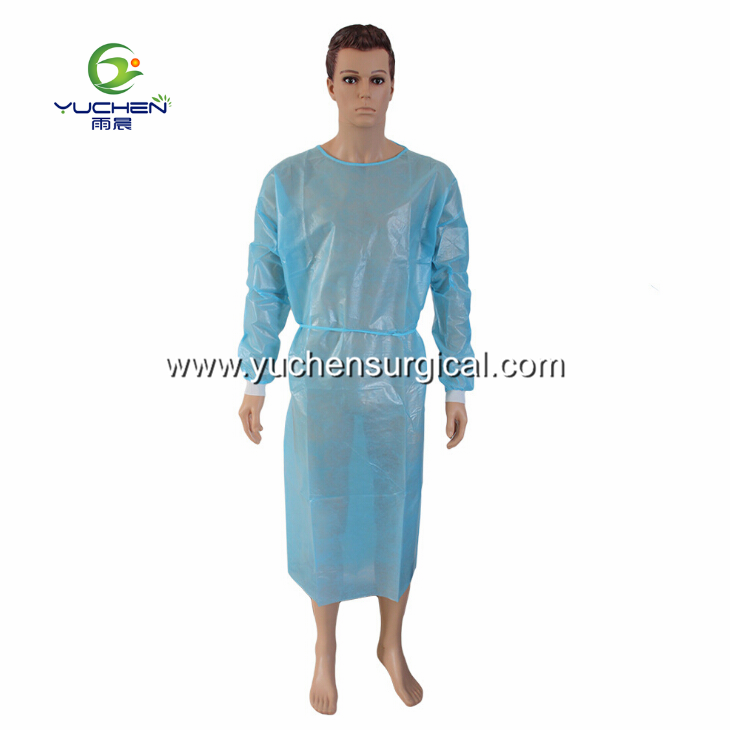 Disposable PP Coated PE film Waterproof Medical Isolation Gown with Anti-penetration & AAMI Level 2